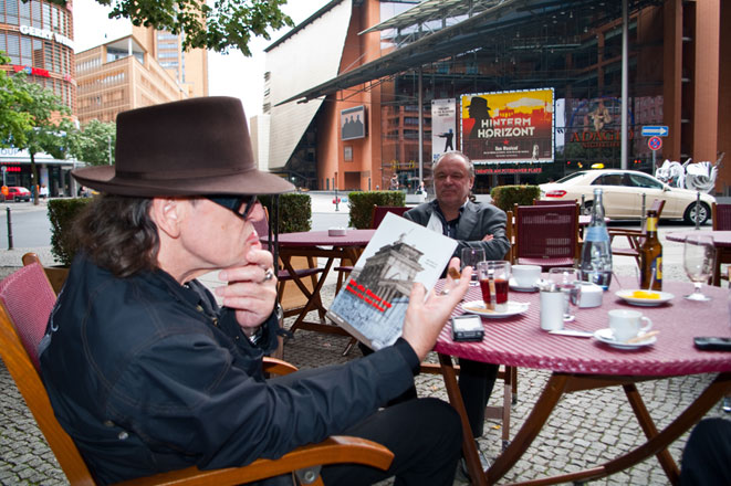 Udo Lindenberg with Wall book by Harry Hampel. Berlin, Germany, 15 June 2011